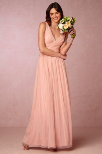 BHLDN Edith Dress Hitherto Wedding Taupe Pink Tulle Blush Strappy Back sz 6 8