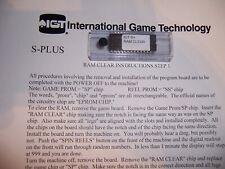 S-Plus Slot machine RAM /& BV Bill Validator clear set chip SP731 /& EEPROM IGT S