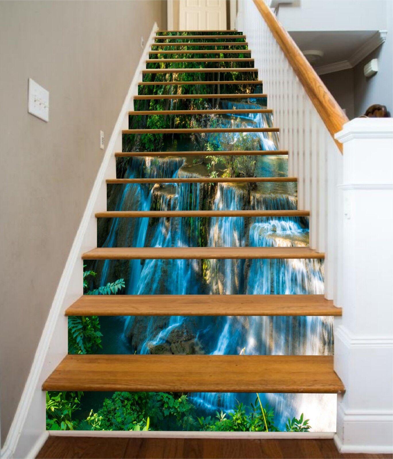 3D Wasserfall 2134 Stair Risers Dekoration Fototapete Vinyl Aufkleber Tapete DE