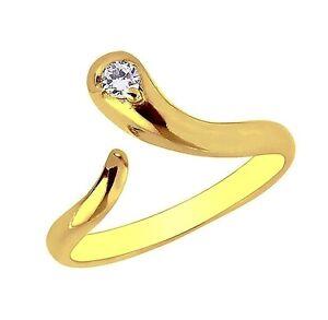 10k Gelbgold Schlange Cubic Zirkonia Verstellbar Ring Oder Zehring