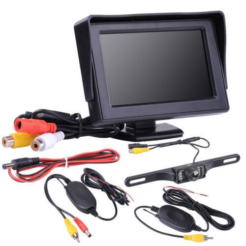 "Wireless Night Vision License Plate Reversing Camera 4.3/"" LCD Display Screen Kit"
