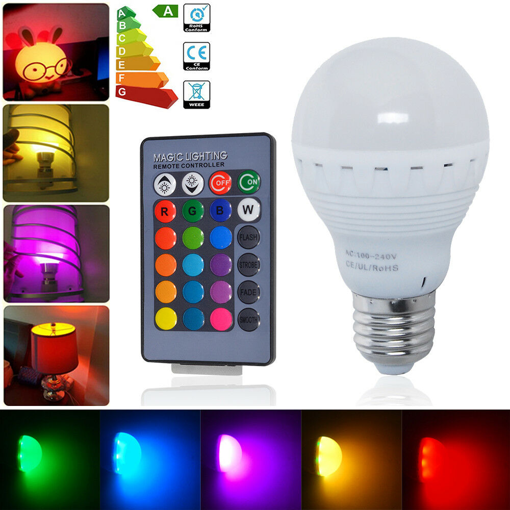 5W E27 ES LED Globe Bulb Light Lamp RGB + 16 Farbe Changing IR Remote Controller