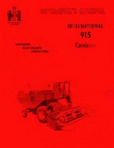 International Harvester 915 Combine Operators Instruction Manual IH