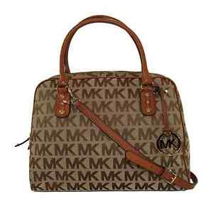 Image is loading MICHAEL-KORS -AUTHENTIC-LUGGAGE-BEIGE-SIGNATURE-SATCHEL-CROSS- 4454bb1de6687