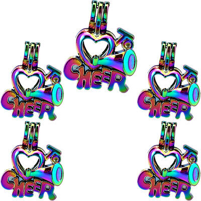 5X-C939 Rainbow Color Word Cheer Pearl Cage Party Them Diffuer Locket
