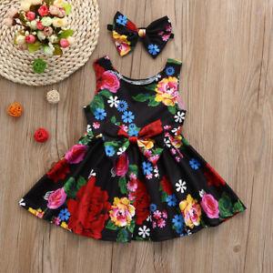 Toddler-Kids-Baby-Girl-Floral-Dress-Princess-Casual-Party-Tutu-Dress-Sundress-US