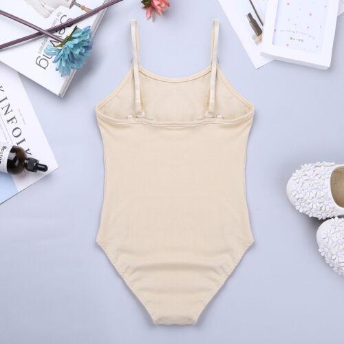 Girls Kids Ballet Camisole Dance Leotard Gymnastics Dancewear Nude Bodysuit