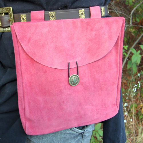 Medieval For the Love of Pink Suede Leather Renaissance Ladies Belt Pouch