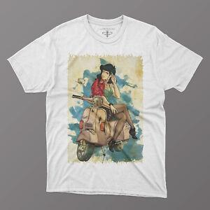 T-Shirt Margot su vespa, maglia lupin cartoon trendy estate per uomo e donna