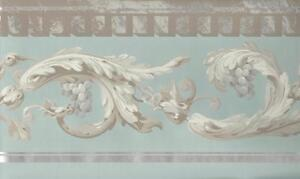 Wallpaper-Border-Designer-Gray-Leaf-Scroll-with-Grapes-on-Aqua-Blue-with-Silver