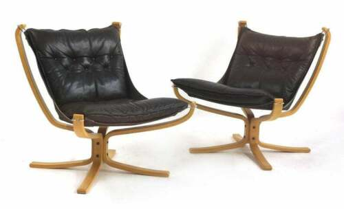 Sigurd Ressell Falcon Chair for Vatne Møbler Black Leather & Blonde Bentwood