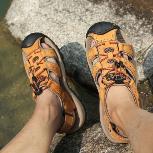 Men/'s Outdoor Closed Toe Hiking Leather Sandals Summer Camping Fisherman Shoes