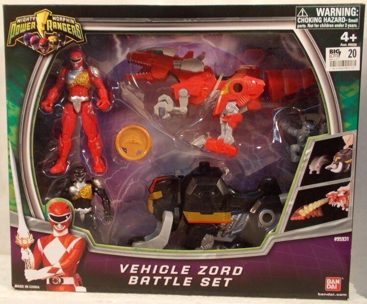 Mighty Morphin Power Rangers 2010 Zord Vehículo Juego De Batalla Rojo Y Negro Masilla Mib