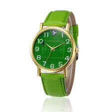 Retro Design Leather Band Analog Alloy Quartz Wrist Watch Green