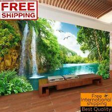 Custom 3d Wall Mural Wallpaper Home Decor Green Mountain Waterfall Landscape For Sale Online Ebay