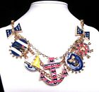 Betsey Johnson navy style rudder/anchor/shield collocation bib Necklace #562L