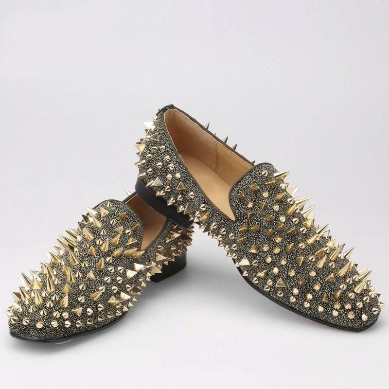 Mens Nightclub Loafers Goth Slip On Handmade Punk Spike Rivet Pumps Dress shoes