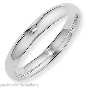 Sterling Silver 4mm Court Wedding Ring Band Size W Gift Boxed Made in UK