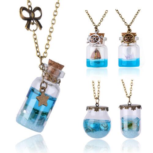 Ocean véritable perle étoile de mer coquillage bouteille en verre résine Orb Pendentif Chaîne Collier