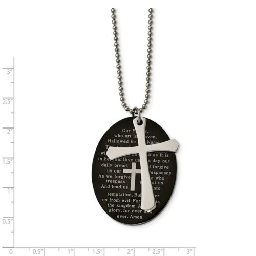 """Chisel Stainless Steel Black Lord/'s Prayer Oval Cross Pendant with 24/"""" Necklace"""