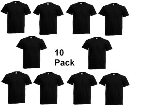 10 Pack Fruit of the Loom Para Hombre 100/% Algodón Llano Camiseta Lote a granel Superior Original