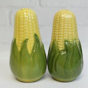 Vintage-Shawnee-Pottery-Yellow-Summer-Corn-Salt-amp-Pepper-Shakers-Large-Decor-5-034