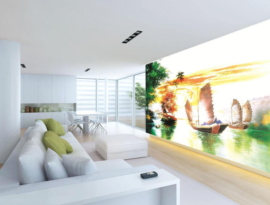3D Bateau à Voile 4 Photo Papier Peint en Autocollant Murale Plafond Chambre Art