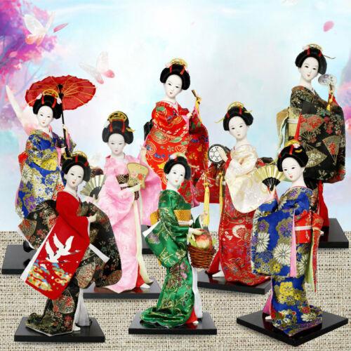 Oriental Japanese Brocade Kimono Kabuki Doll Geisha Figure Figurine Statue Decor