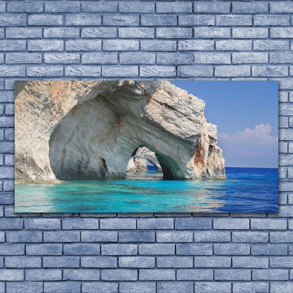 Canvas print Wall art on 140x70 Image Picture Cliff Sea Lake Water Landscape