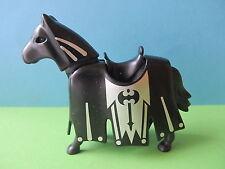 Playmobil Pferd mit Schanz Kleid Schabracke schwarz silber Drachenland 4160 4660