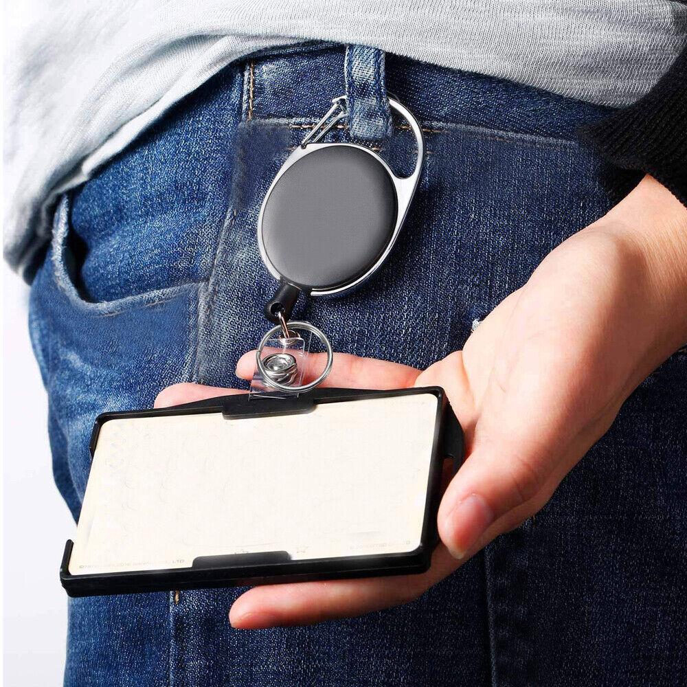 2-Pack Work Card ID Holder with Retractable Badge Reel Carabiner & Belt Clip
