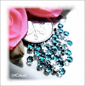 30-Swarovski-ss10-Blue-Zircon-Vintage-Rose-Montee-Sew-On-Crystal-10ss-Aqua