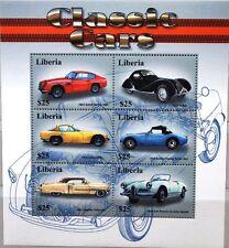 Liberia 2001 KLB 3955-60 blocco 394-95 Classic Automobiles VINTAGE CARS AUTOMOBILI MNH
