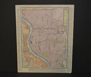 Antique Color map of Cincinnati. Circa 1903. Nice detail