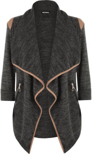 New Womens Knitted Open Zip Pocket Long Sleeve Shoulder Top Ladies Cardigan