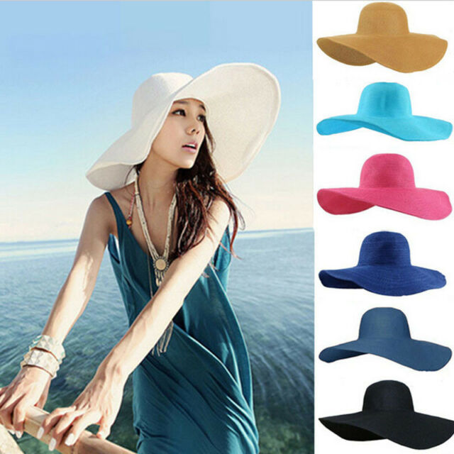 Summer Women Foldable Wide Large Brim Floppy Beach Hat Sun Straw Hat Elegant Cap