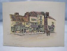 OLD HOUSES SHAFTESBURY DORSET Addenbrooke Miniature Antique Pen & Ink c.1900*