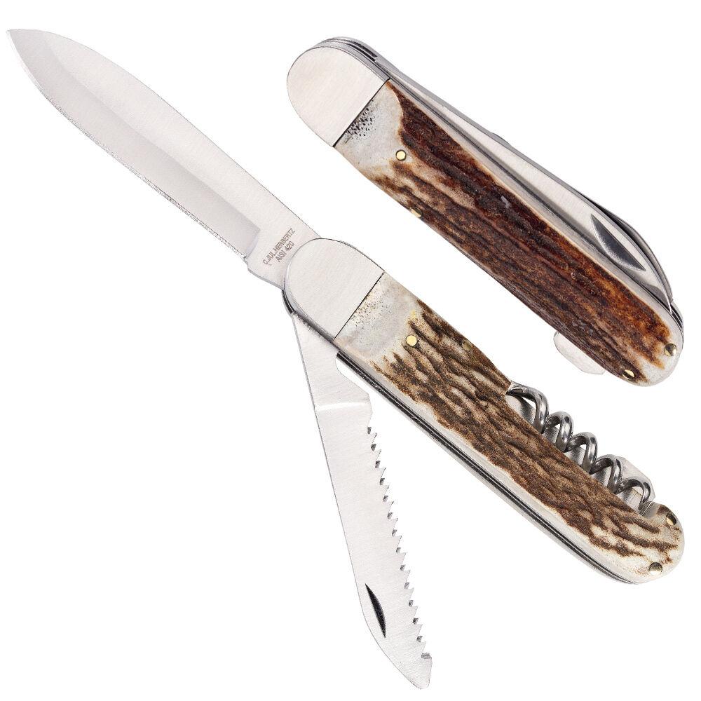 Trachten- Jagd-Messer Säge Jäger Hirsch-Horn-Schalen Jäger Säge Taschenmesser Schnitzmesser bed4d4