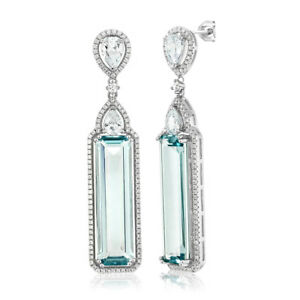 925-Sterling-Silver-Baguette-Cut-Simulated-Aquamarine-amp-White-CZ-Dangle-Earrings