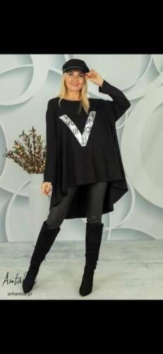 NEW Womens Luxury Designer Bold Viton Print LAGENLOOK Sweatshirt Tunic Dress