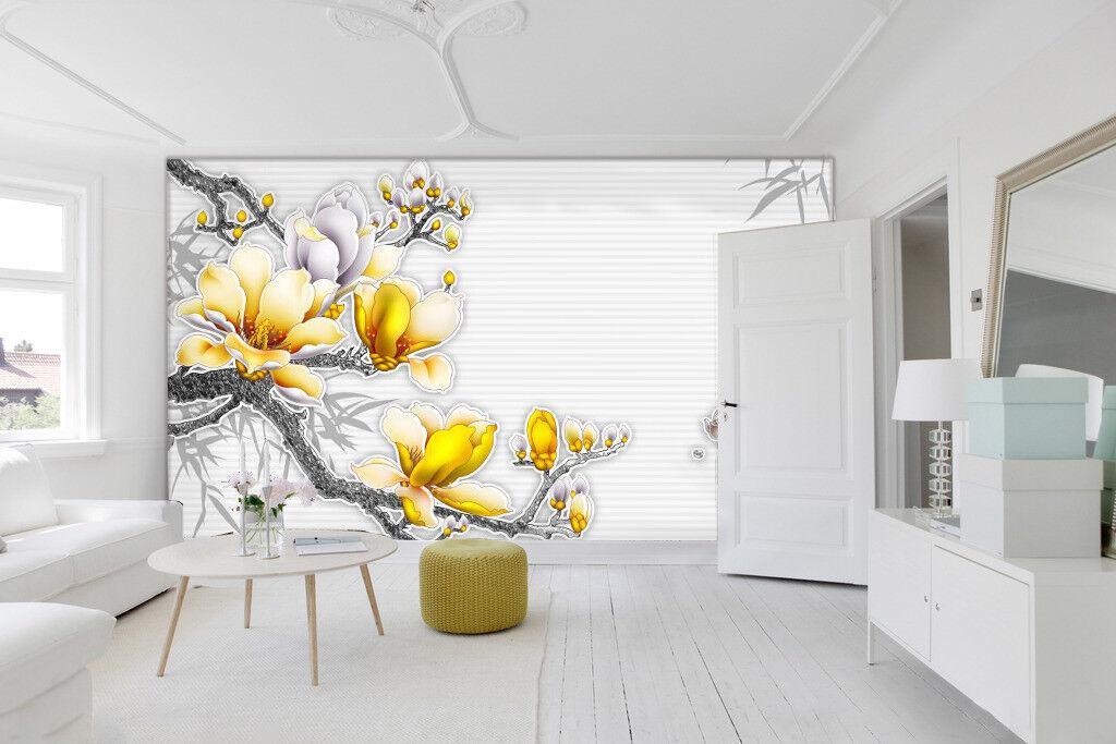 3D Gelb Flower Tree 811 Wallpaper Mural Paper Wall Print Wallpaper Murals UK