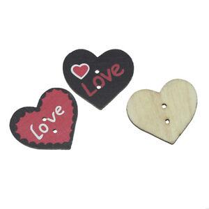 Buttons-30x26mm-Random-Colour-034-Heart-034-034-Love-034-Pattern-2-Holes-4Pcs