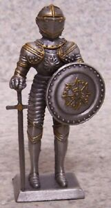 Figurine-Medieval-Knight-Armor-French-with-Sword-NEW-pewter-4-034-with-gift-box