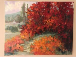 "EVA SZORC Landscape Painting Original Oil On Canvas 20"" x 16"" Fall Poppies"