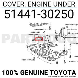 ENGINE UNDER 51441-30250 Toyota OEM Genuine COVER