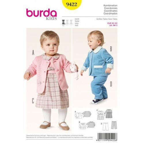 Burda Kids Baby Toddler Jacket Dress Trousers Fabric Sewing Pattern 9422