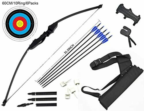 DOSTYLE Archery Takedown Recurve Bow and Arrow Set Hunting Long Bow Kit for Outd