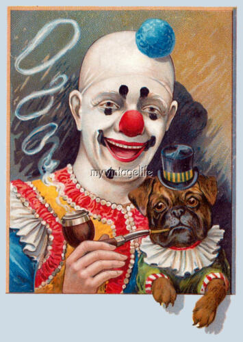 Vintage Circus Clown and Pug dog Quilting Fabric Block