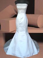 IVORY/WHITE MERMAID BRIDAL WEDDING DRESS FISHTAIL BALL GOWN 8/10/12/14/16/18