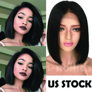 New-Virgin-Indian-Remy-Human-Hair-Bob-Lace-Front-Wig-Full-Lace-Pre-Plucked-Black